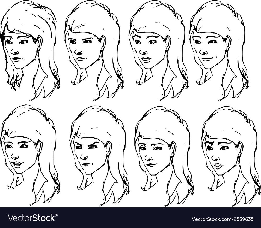 Girl face expressions sketches vector | Price: 1 Credit (USD $1)