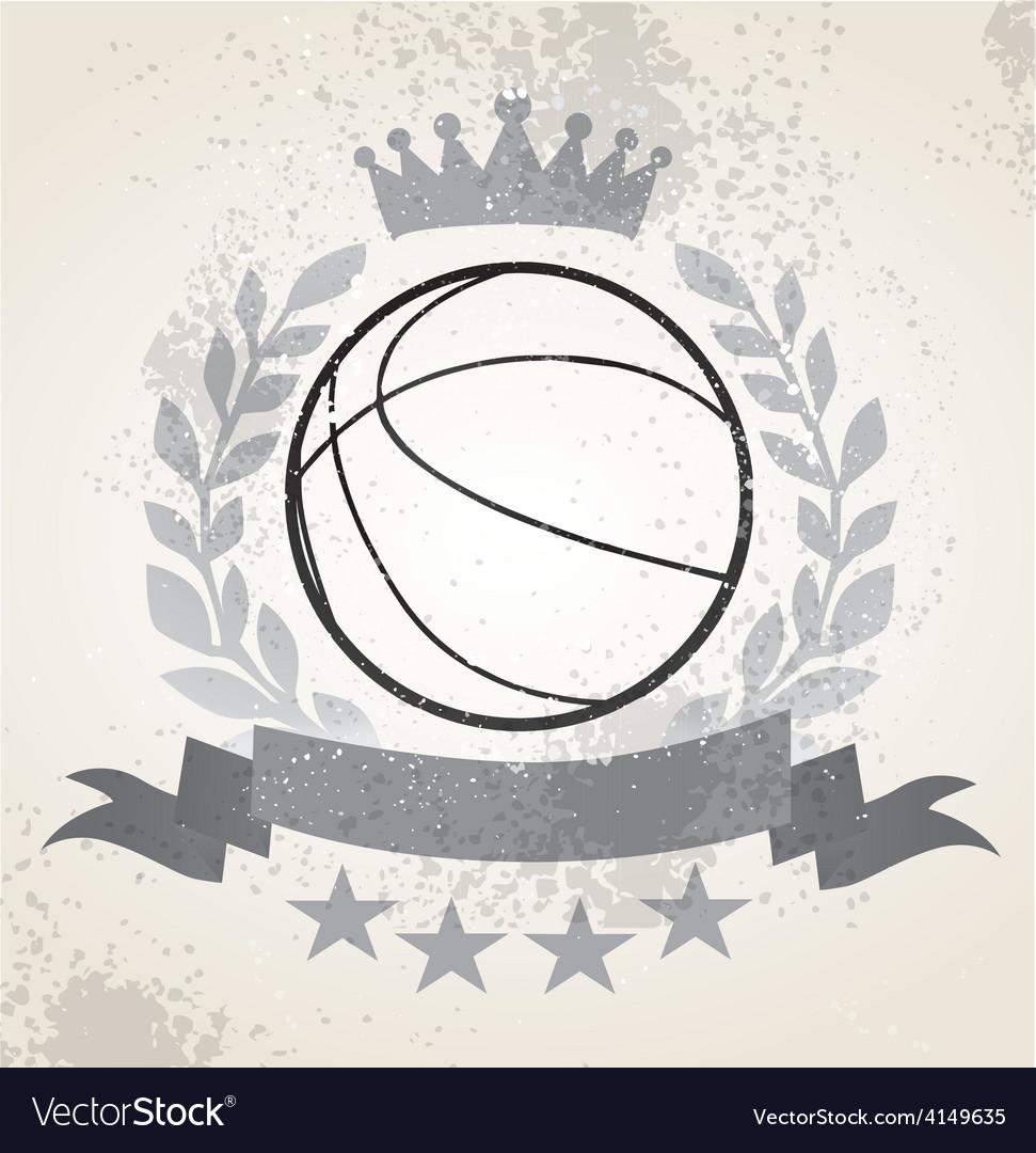 Grunge basketball laurel weath vector