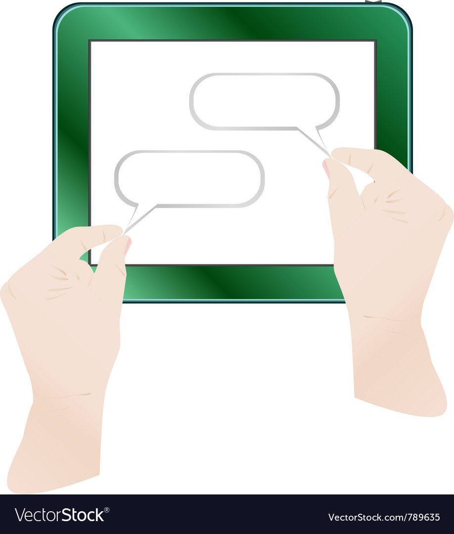 Hands holding tablet pc vector | Price: 1 Credit (USD $1)