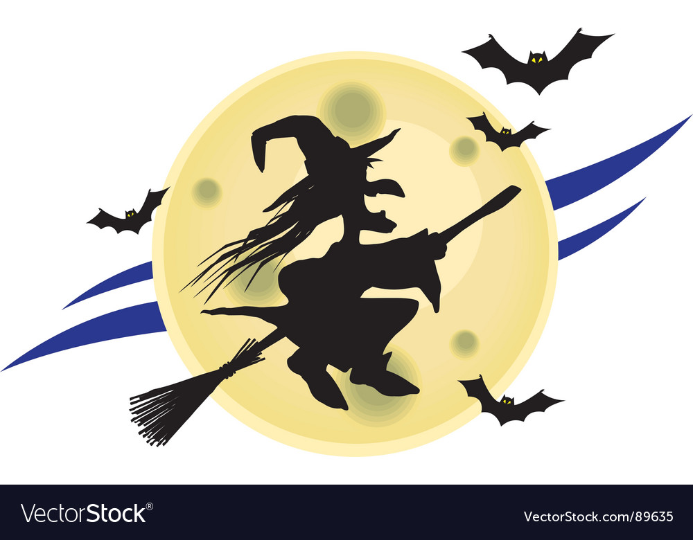 Witch on broomstick vector | Price: 1 Credit (USD $1)