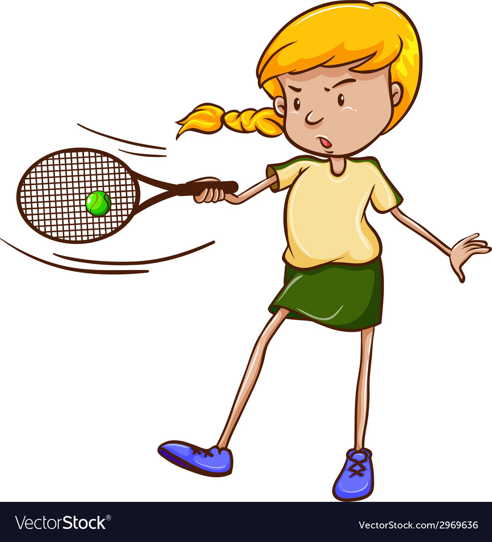 A simple sketch of a female tennis player vector   Price: 1 Credit (USD $1)