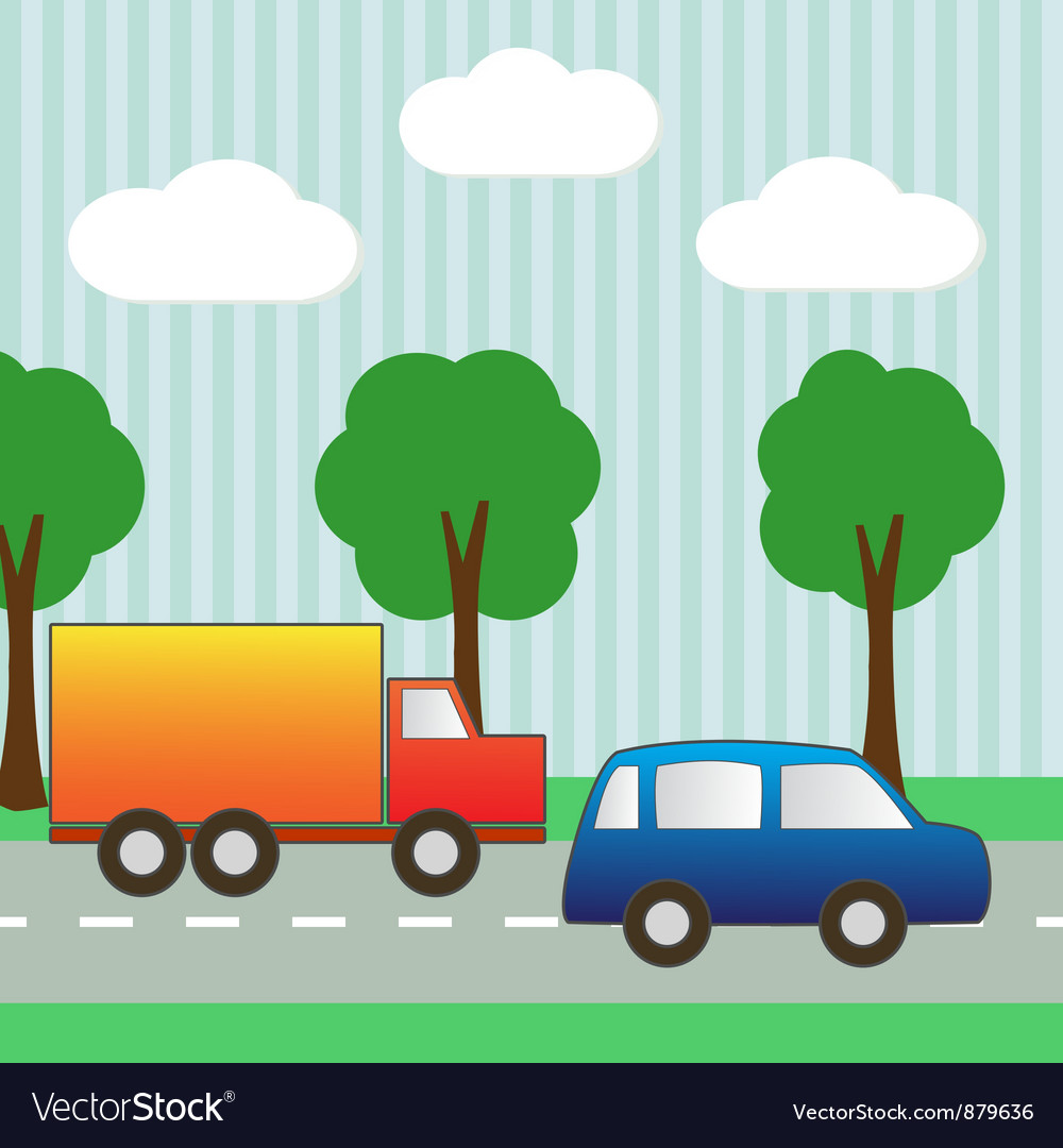 Background with car and truck for scrapbook vector | Price: 1 Credit (USD $1)