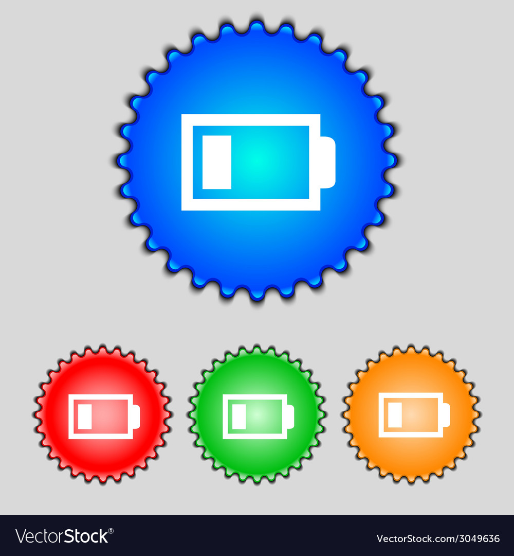 Battery low level sign icon electricity symbol set vector | Price: 1 Credit (USD $1)