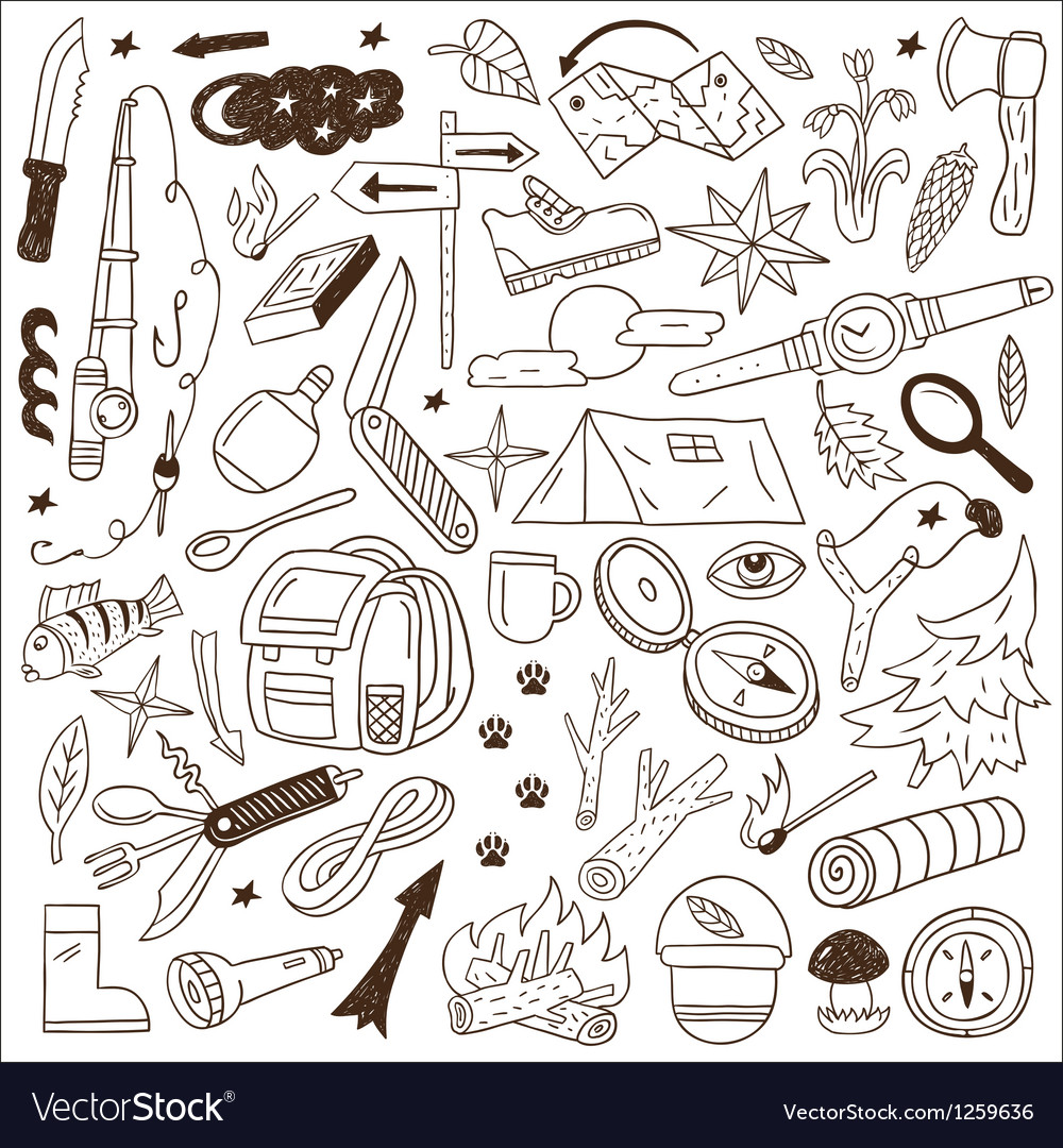 Camping - doodles collection vector | Price: 1 Credit (USD $1)