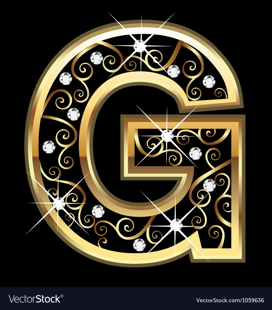 G gold letter with swirly ornaments vector | Price: 1 Credit (USD $1)