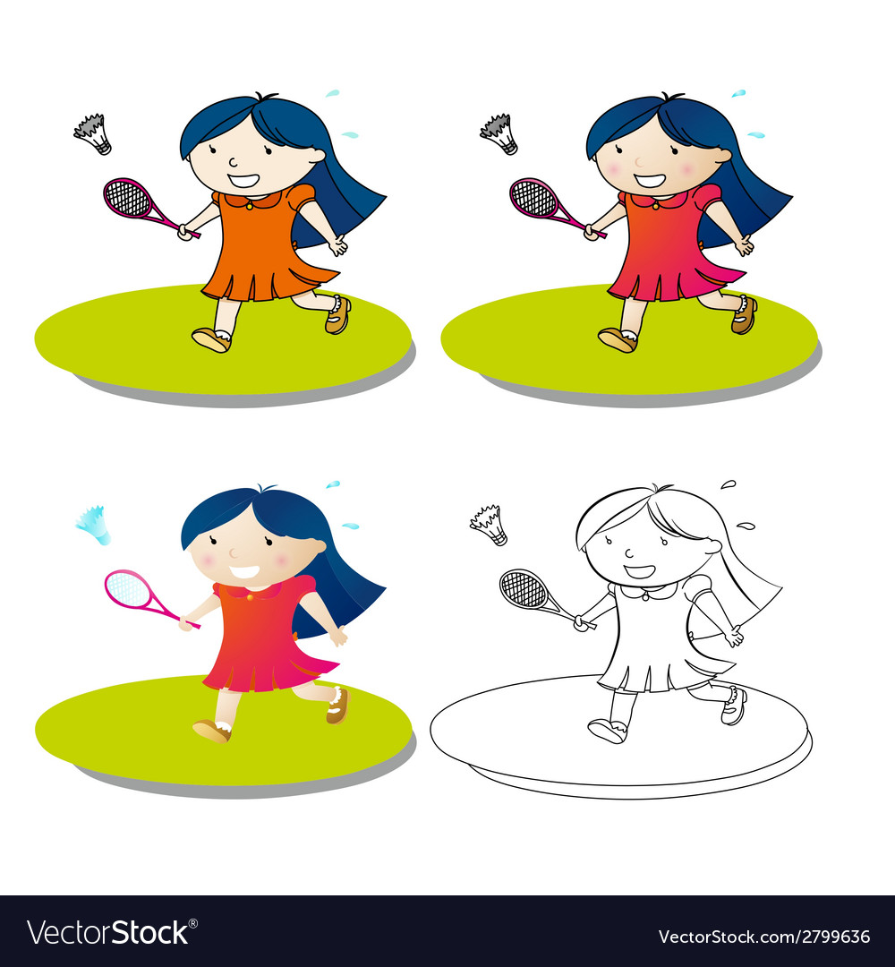 Girl play badminton vector | Price: 1 Credit (USD $1)