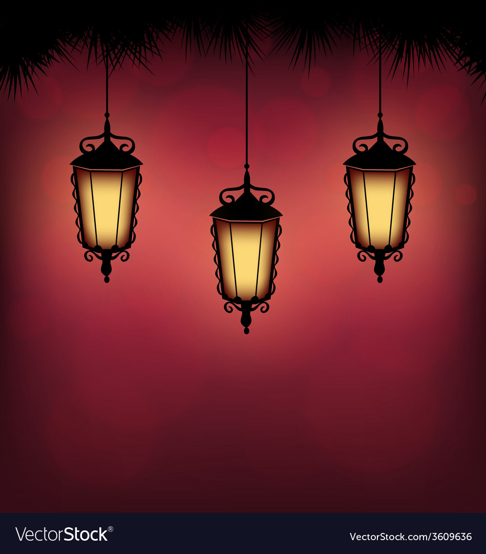 Lanterns with pine on red vector | Price: 1 Credit (USD $1)