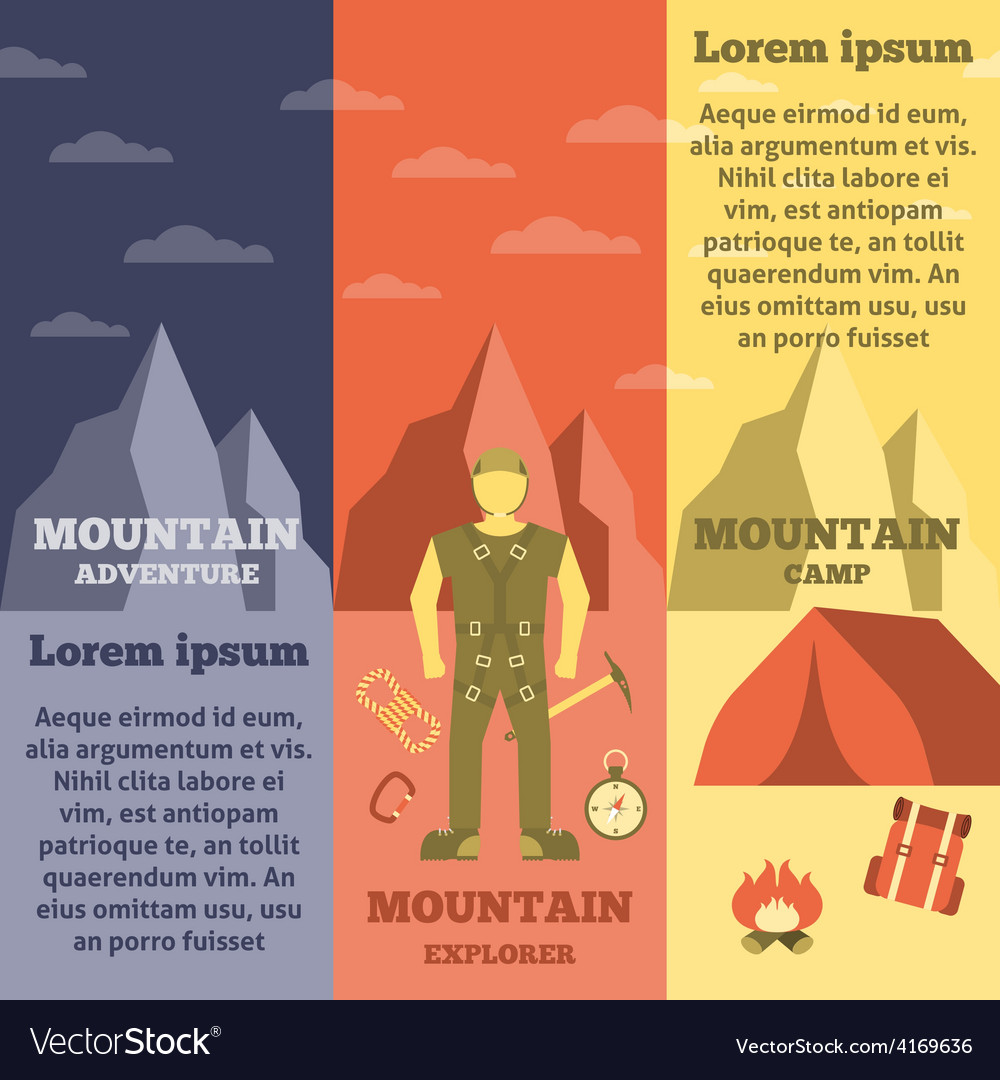 Mountain climber equipment banners set vector | Price: 1 Credit (USD $1)