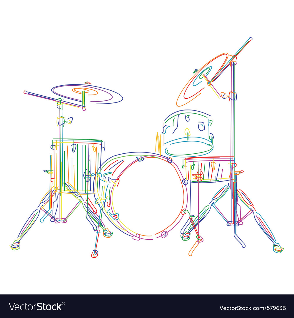 Neon drum kit vector | Price: 1 Credit (USD $1)