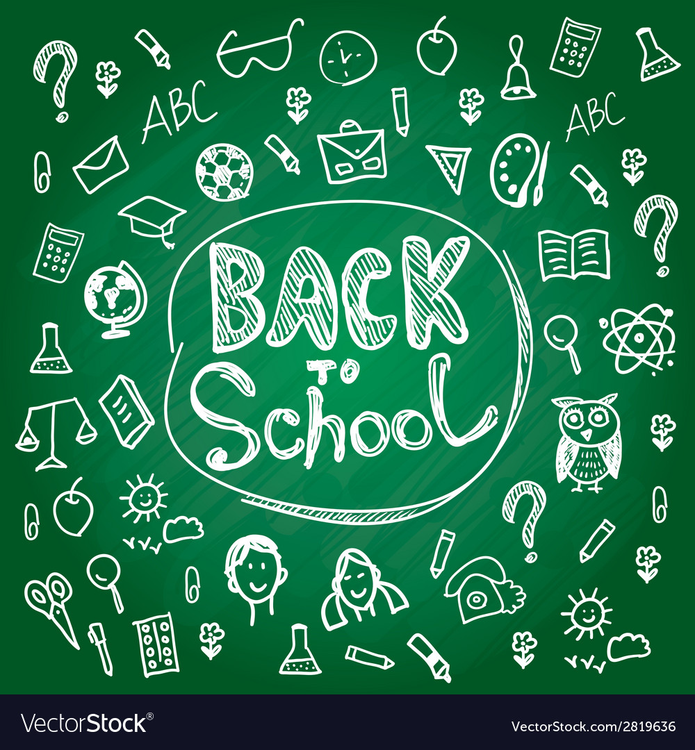 Set back to school blackboard chalk sketch white vector | Price: 1 Credit (USD $1)
