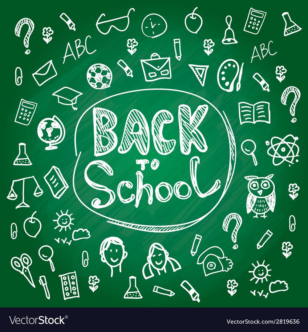 Set back to school blackboard chalk sketch white vector | Price: 1 Credit (USD $1)