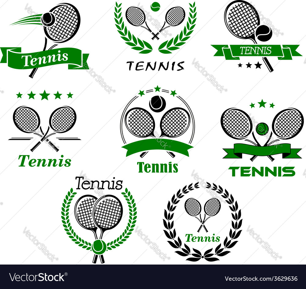 Tennis emblems banners symbols and icons vector | Price: 1 Credit (USD $1)