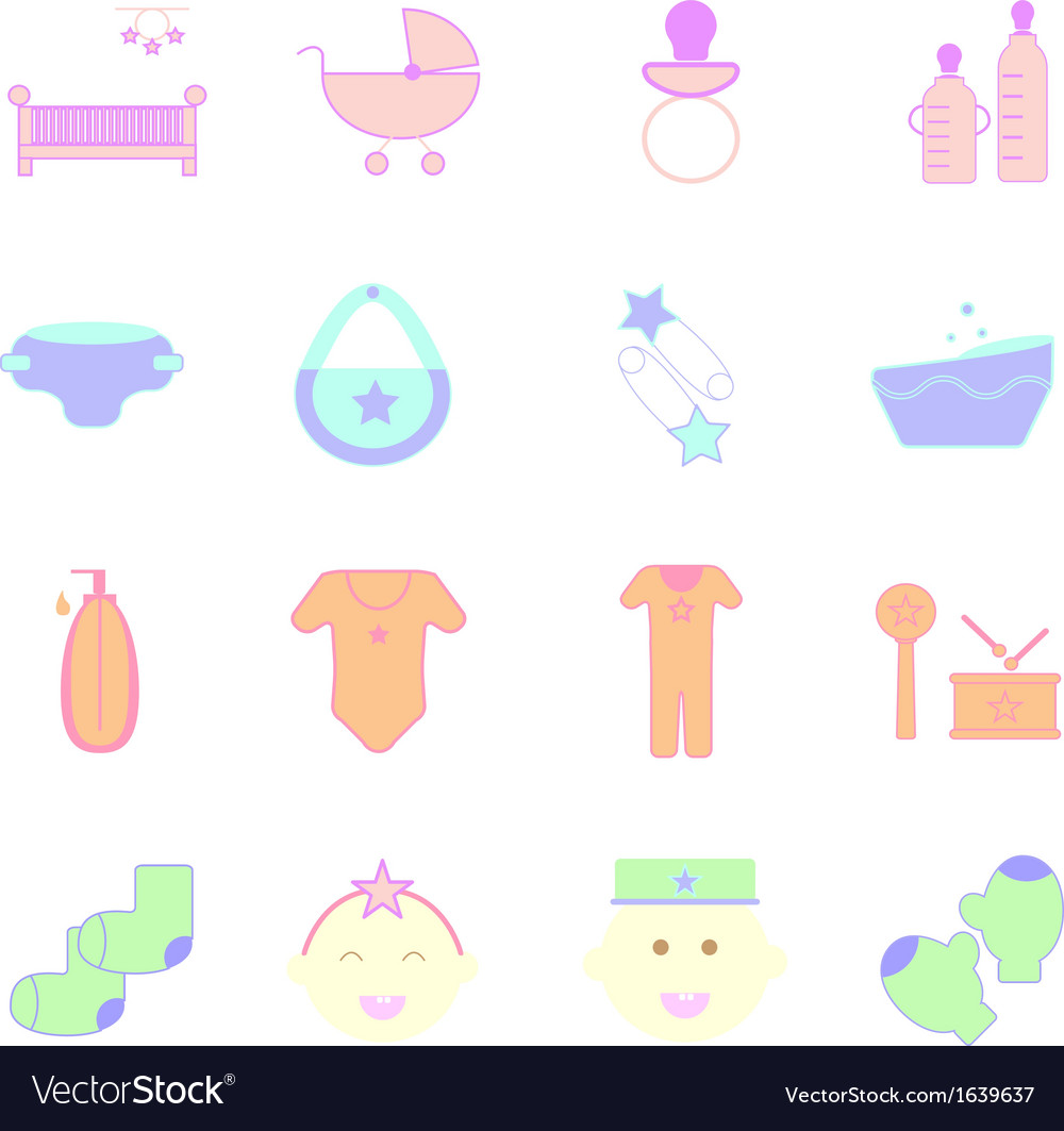 Baby pastel color icons set on white background vector