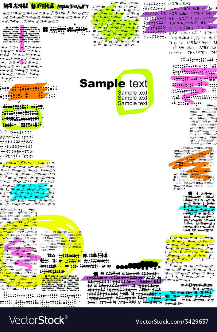 Border of imitation newspaper with notes vector | Price: 1 Credit (USD $1)