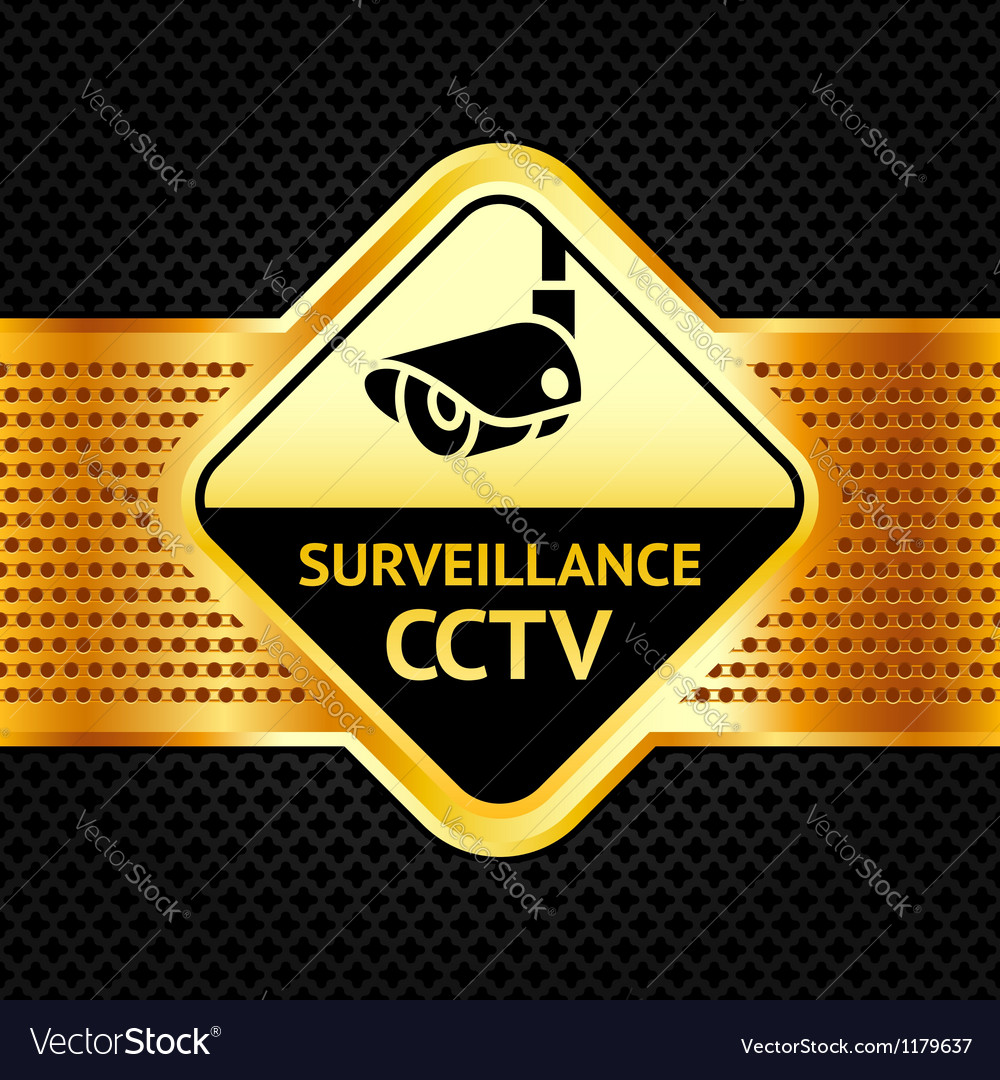 Cctv symbol on a metallic perforated background vector | Price: 1 Credit (USD $1)