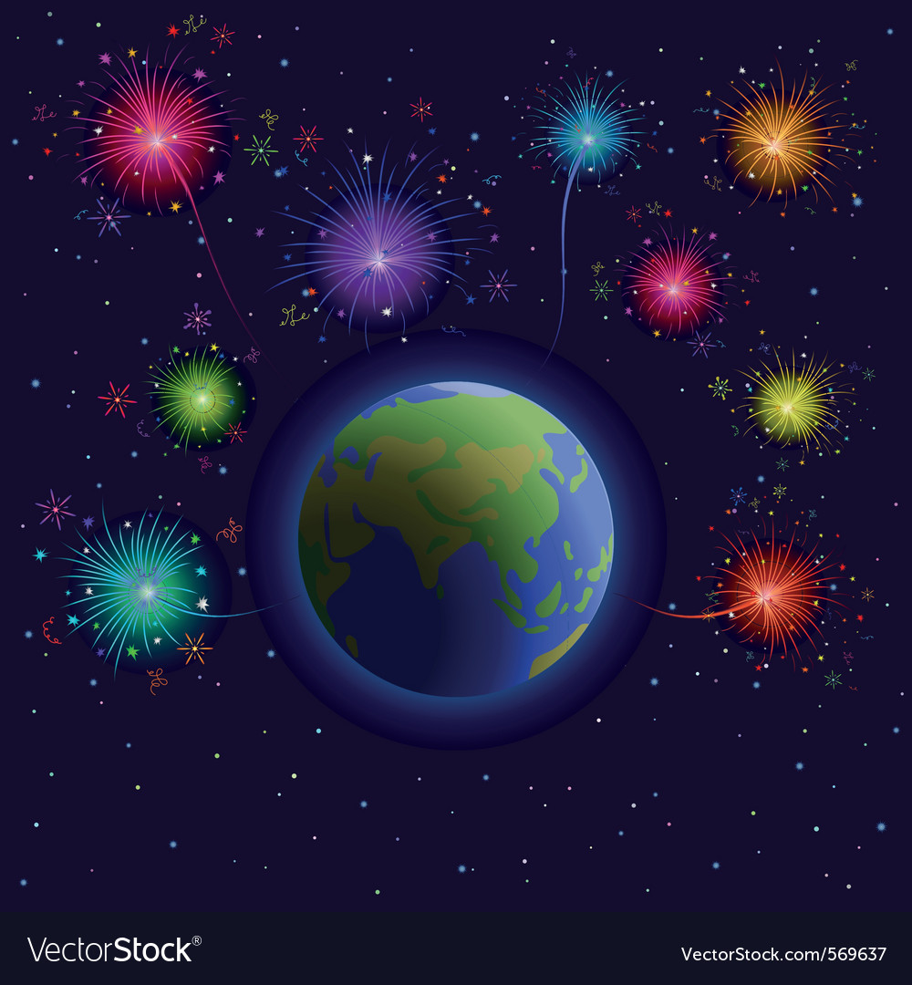 Earth and firework vector | Price: 1 Credit (USD $1)