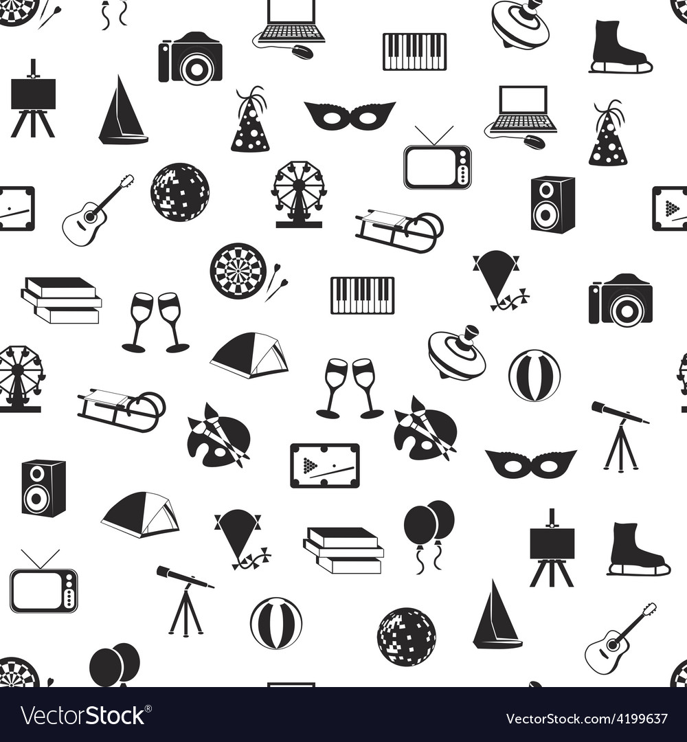 Entertainment seamless pattern vector   Price: 1 Credit (USD $1)
