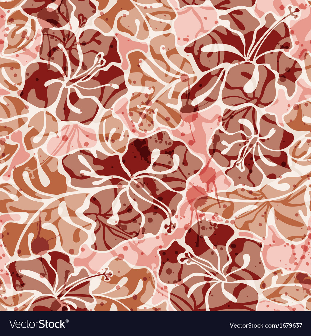 Grunge hibiscus flowers seamless pattern vector | Price: 1 Credit (USD $1)