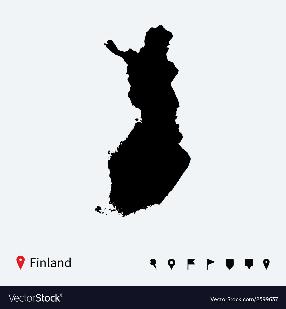 High detailed map of finland with navigation pins vector | Price: 1 Credit (USD $1)