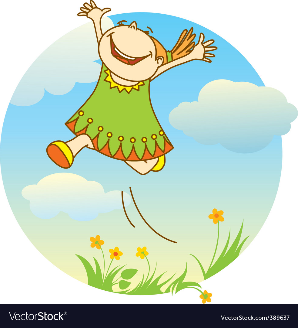 Jumping girl vector | Price: 1 Credit (USD $1)