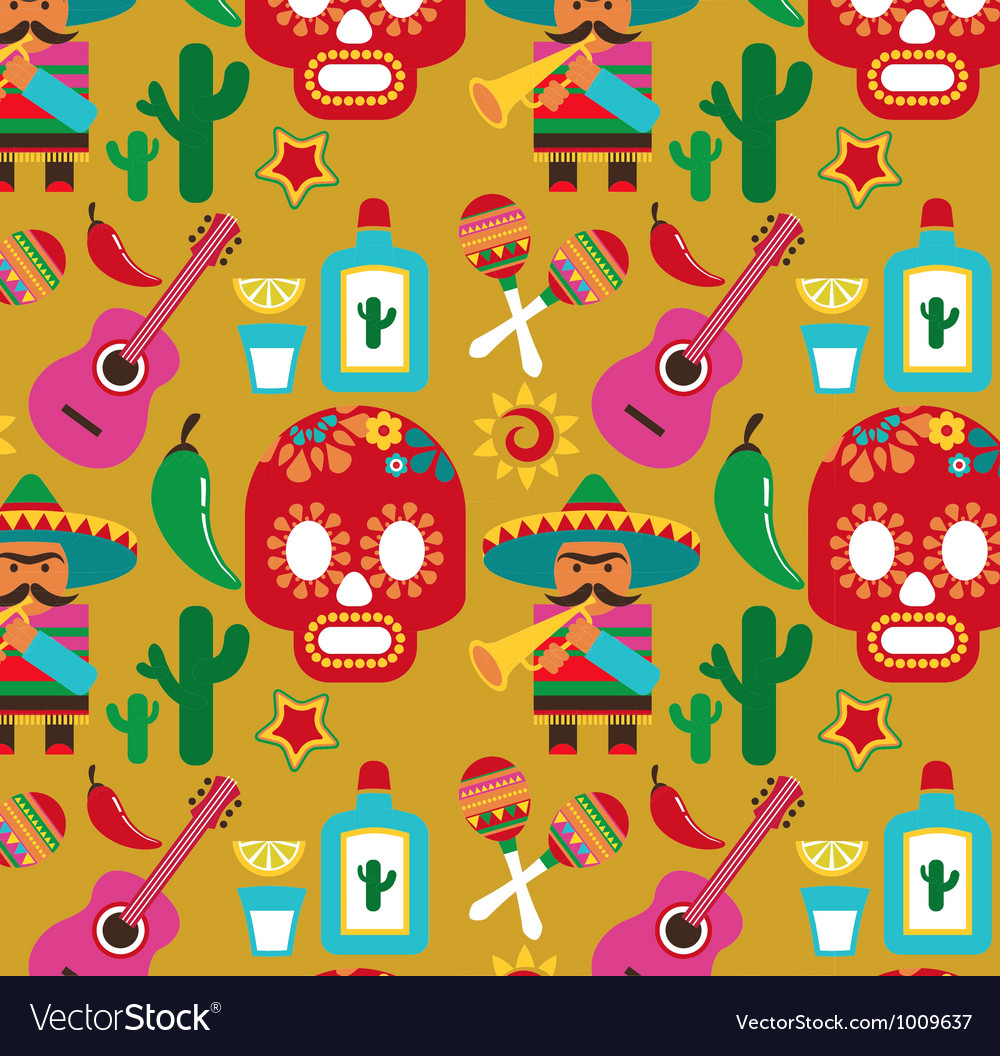 Mexico - pattern with icons vector | Price: 1 Credit (USD $1)