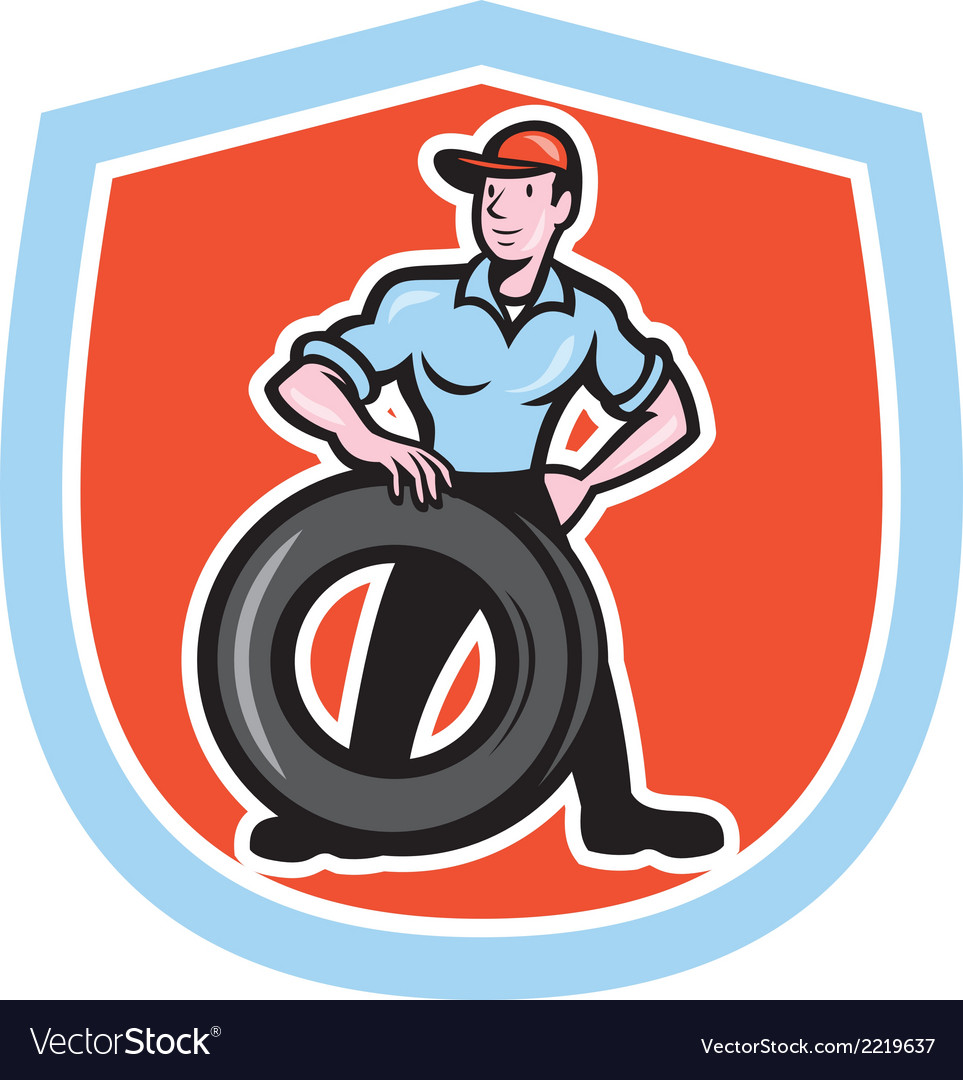 Tireman mechanic with tire cartoon shield vector | Price: 1 Credit (USD $1)