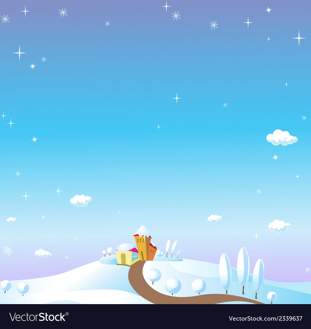 Winter landscape with houses trees fields and snow vector | Price: 1 Credit (USD $1)
