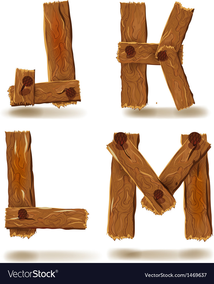 Wooden j k l m vector | Price: 1 Credit (USD $1)