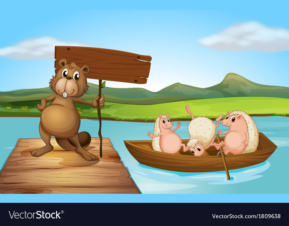 A beaver at the port holding an empty signboard vector | Price: 1 Credit (USD $1)