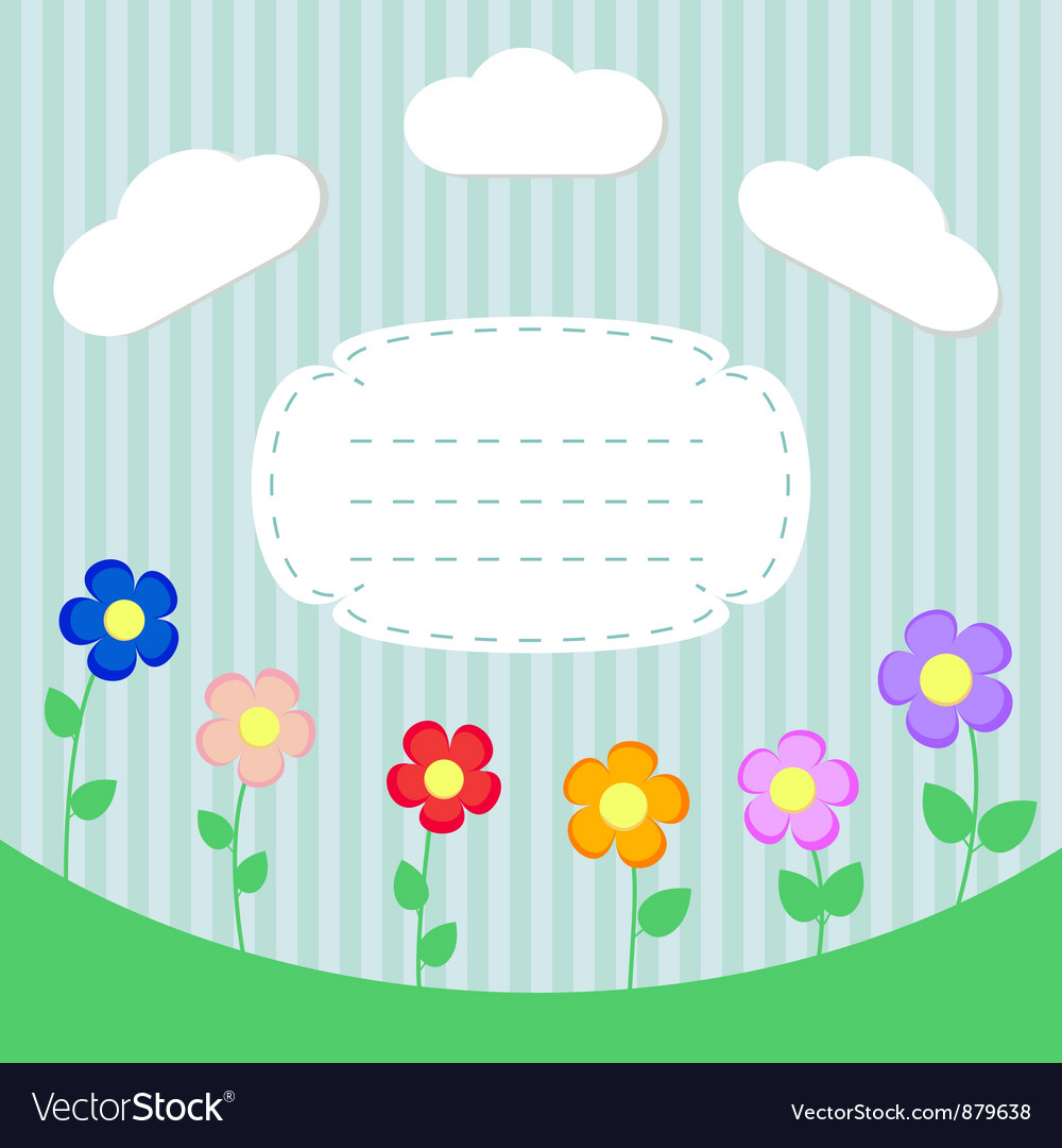 Background with flowers and frame for scrapbook vector | Price: 1 Credit (USD $1)