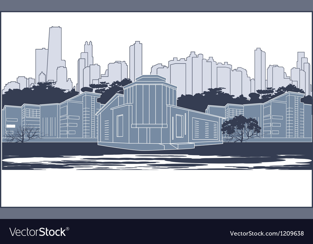 Blue city silhouette vector | Price: 1 Credit (USD $1)