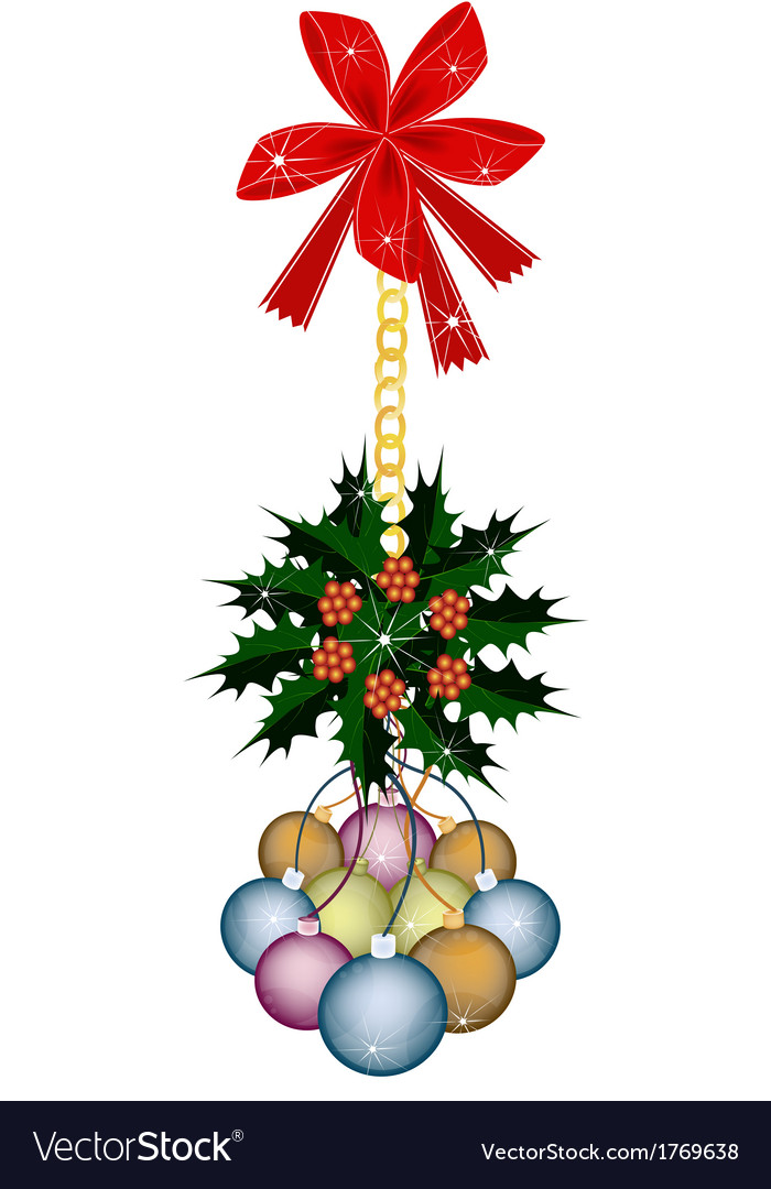 Christmas ball and christmas holly with red bow vector | Price: 1 Credit (USD $1)
