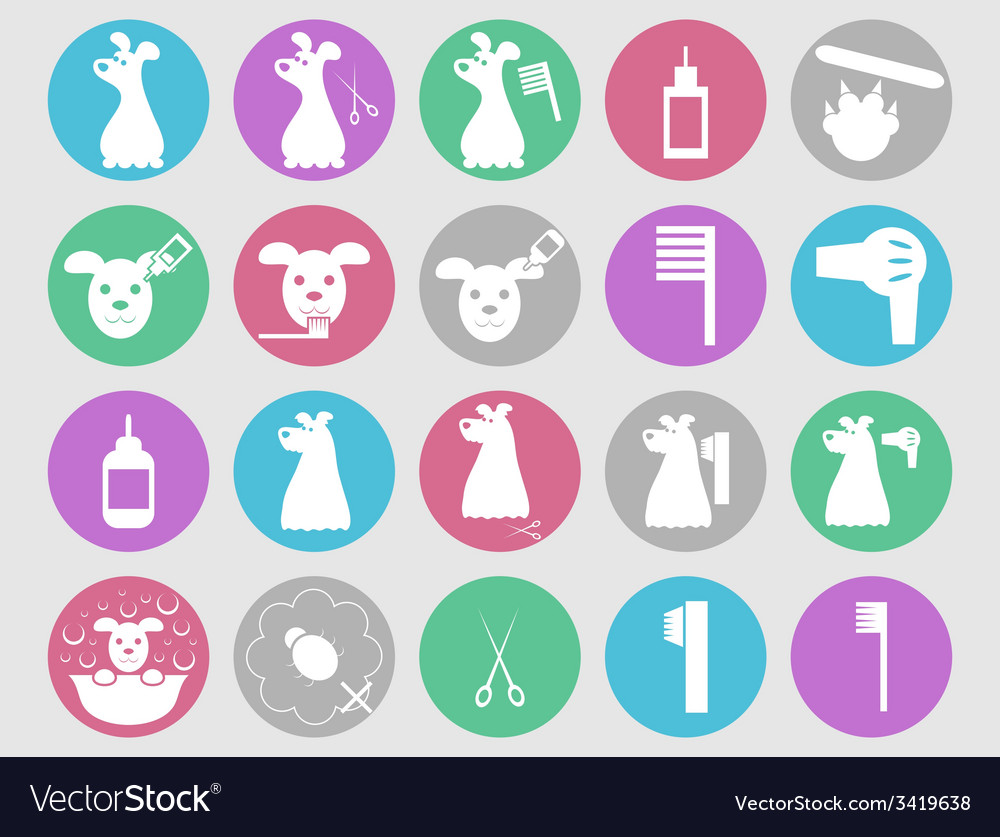 Dog grooming icons set vector | Price: 1 Credit (USD $1)