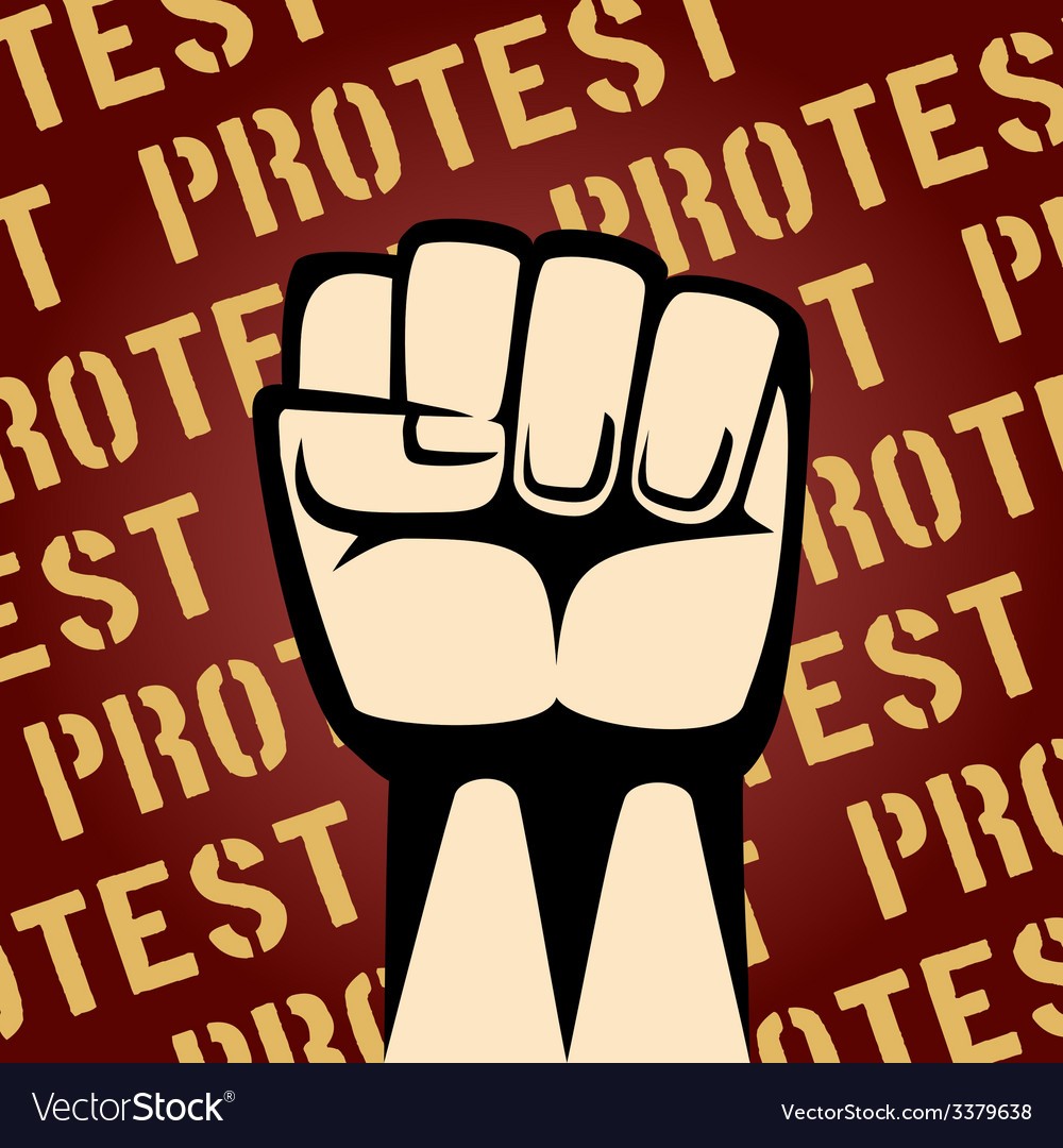 Fist up protest poster vector   Price: 1 Credit (USD $1)