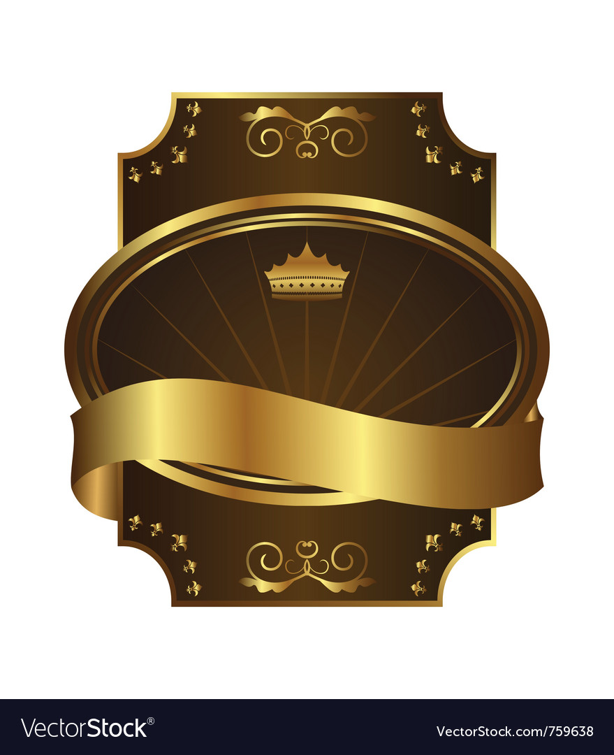 Golden royal label on black background with corner vector | Price: 1 Credit (USD $1)