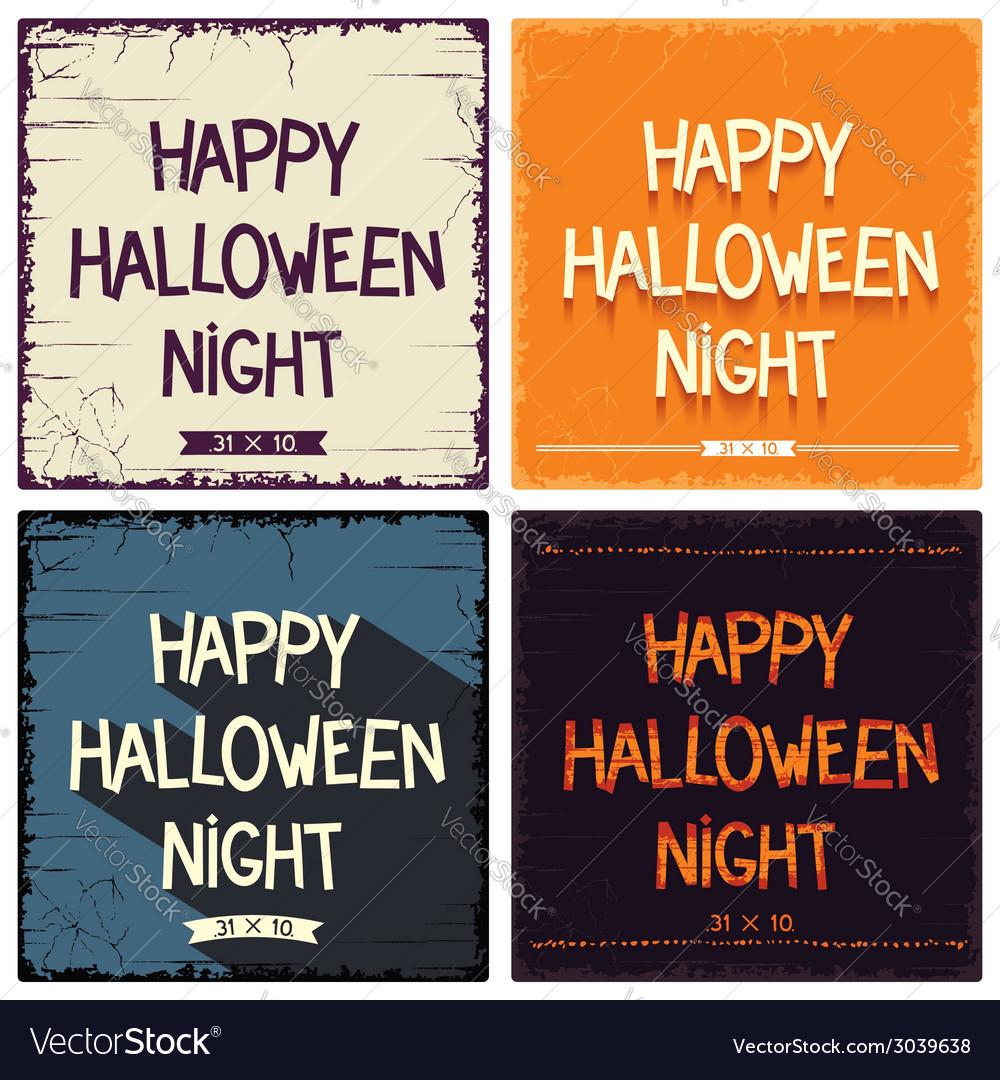 Halloween postcards set vector | Price: 1 Credit (USD $1)