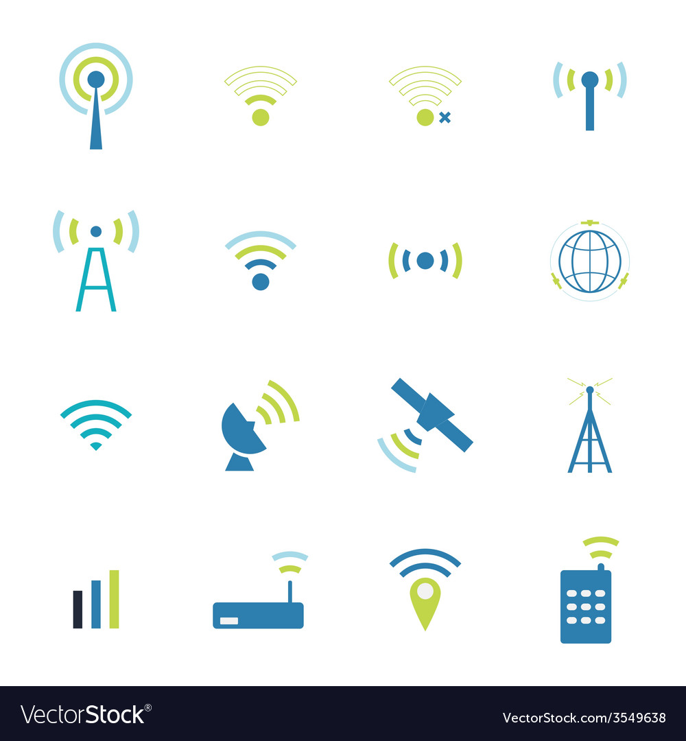 Set different wireless and wifi icons vector | Price: 1 Credit (USD $1)