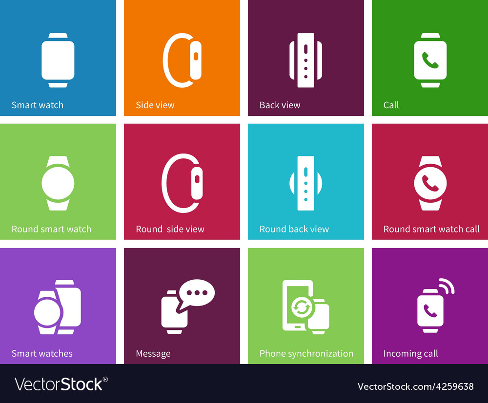 Smart gadget on hand icons on color background vector | Price: 1 Credit (USD $1)