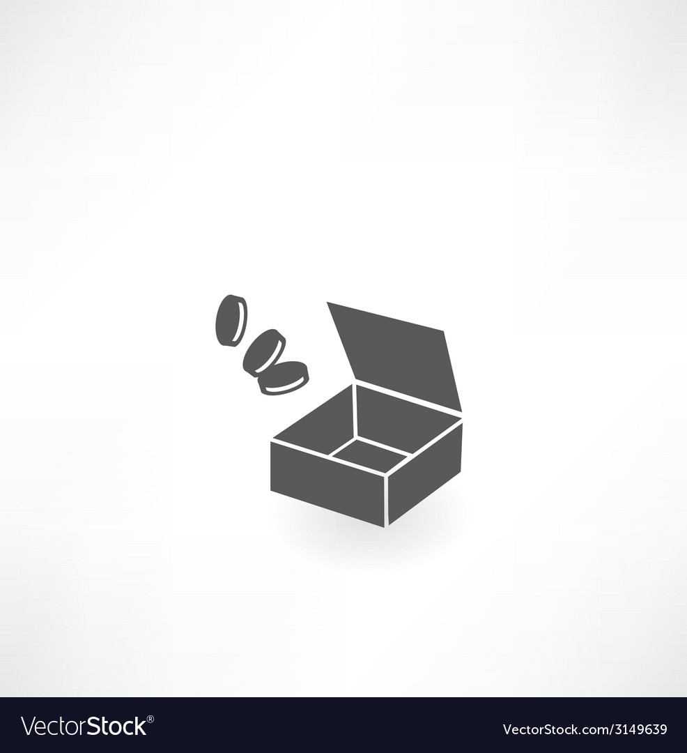 Box with coins icon vector | Price: 1 Credit (USD $1)