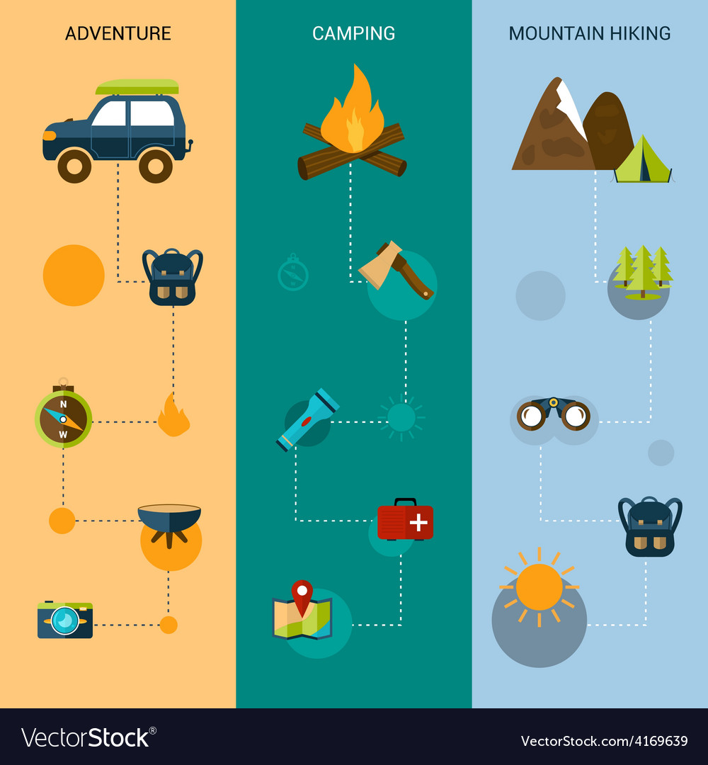 Camping banners vertical vector | Price: 1 Credit (USD $1)