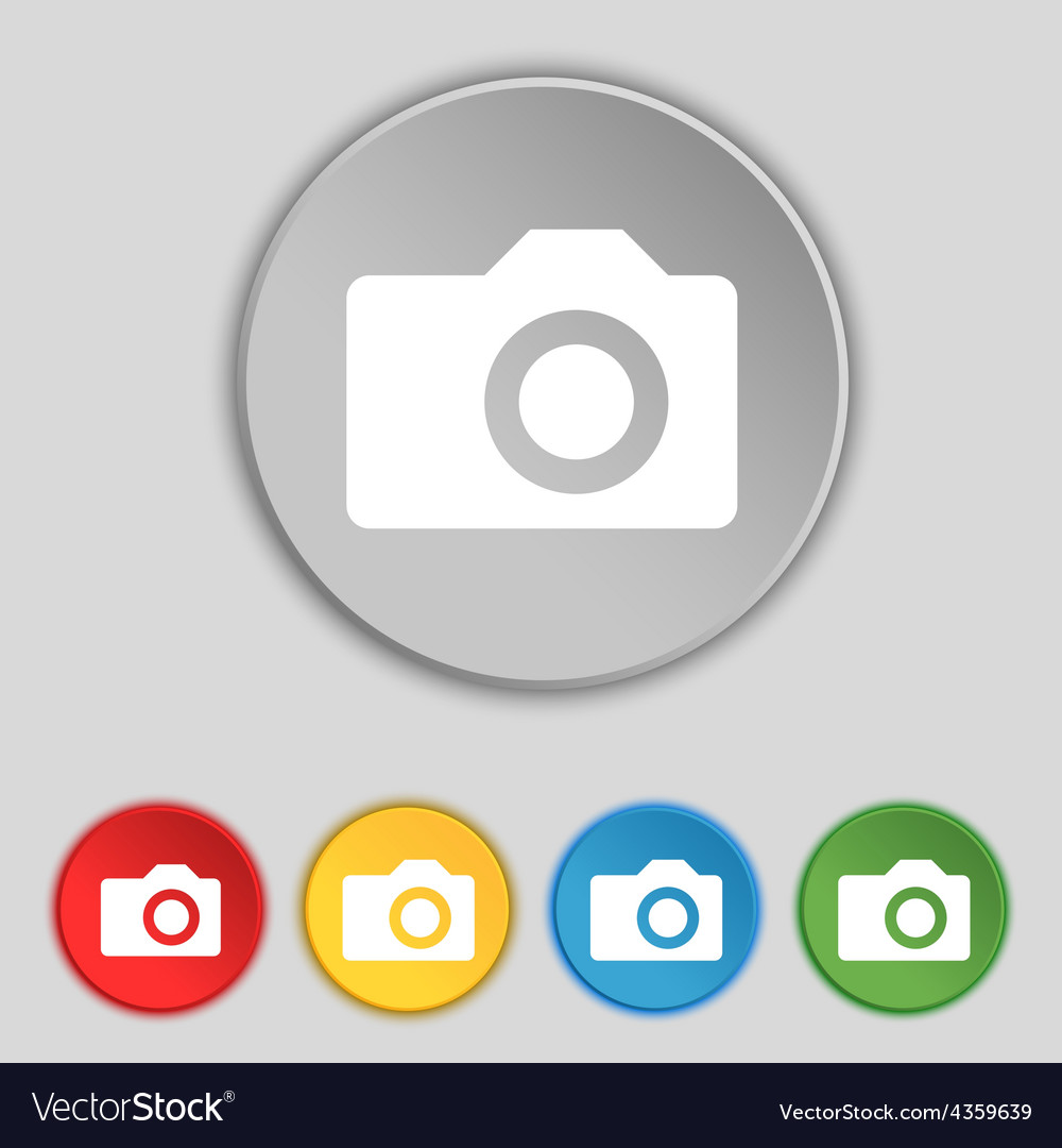 Digital photo camera icon sign symbol on five flat vector | Price: 1 Credit (USD $1)