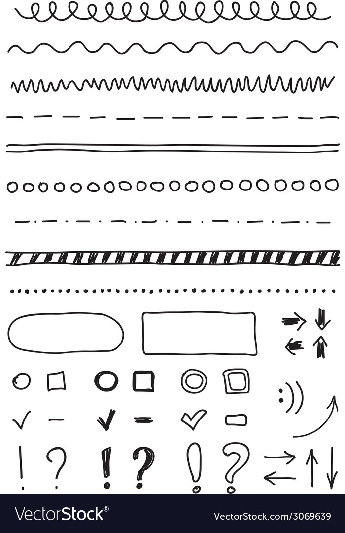 Marker elements hand drawing vector | Price: 1 Credit (USD $1)