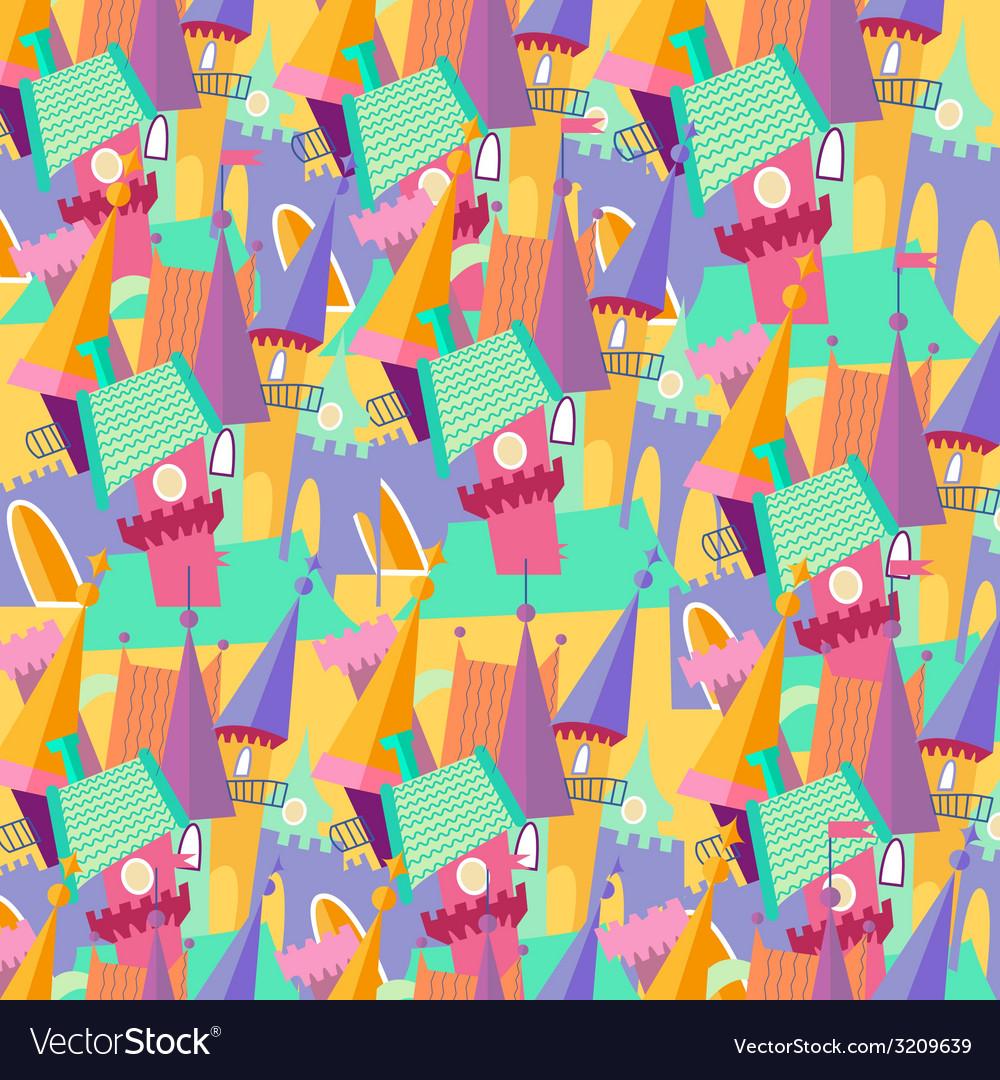 Pattern cartoon castle flat vector | Price: 1 Credit (USD $1)