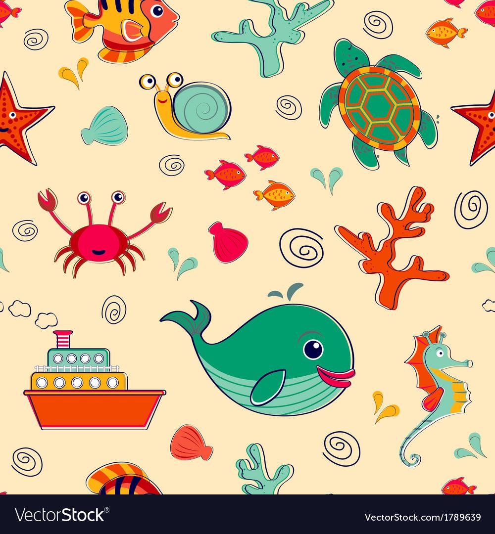 Sea life seamless pattern vector | Price: 1 Credit (USD $1)