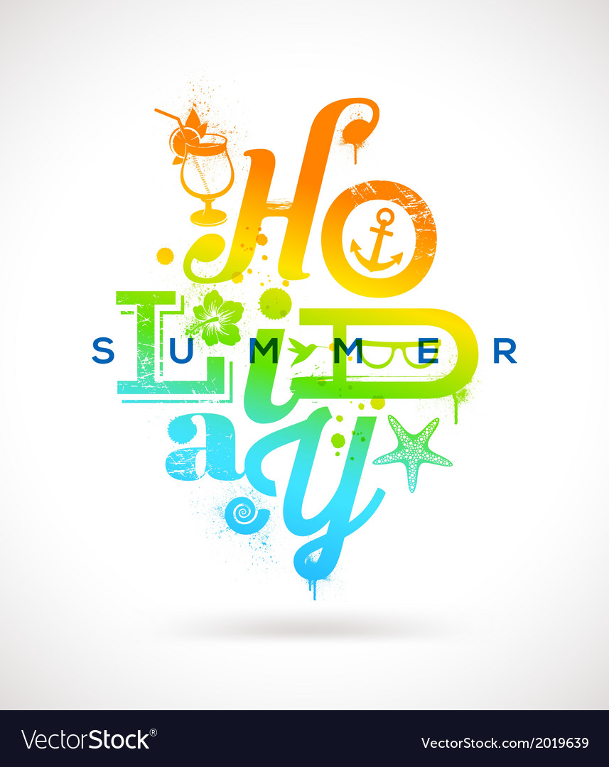 Summer holidays multicolored type design vector | Price: 1 Credit (USD $1)