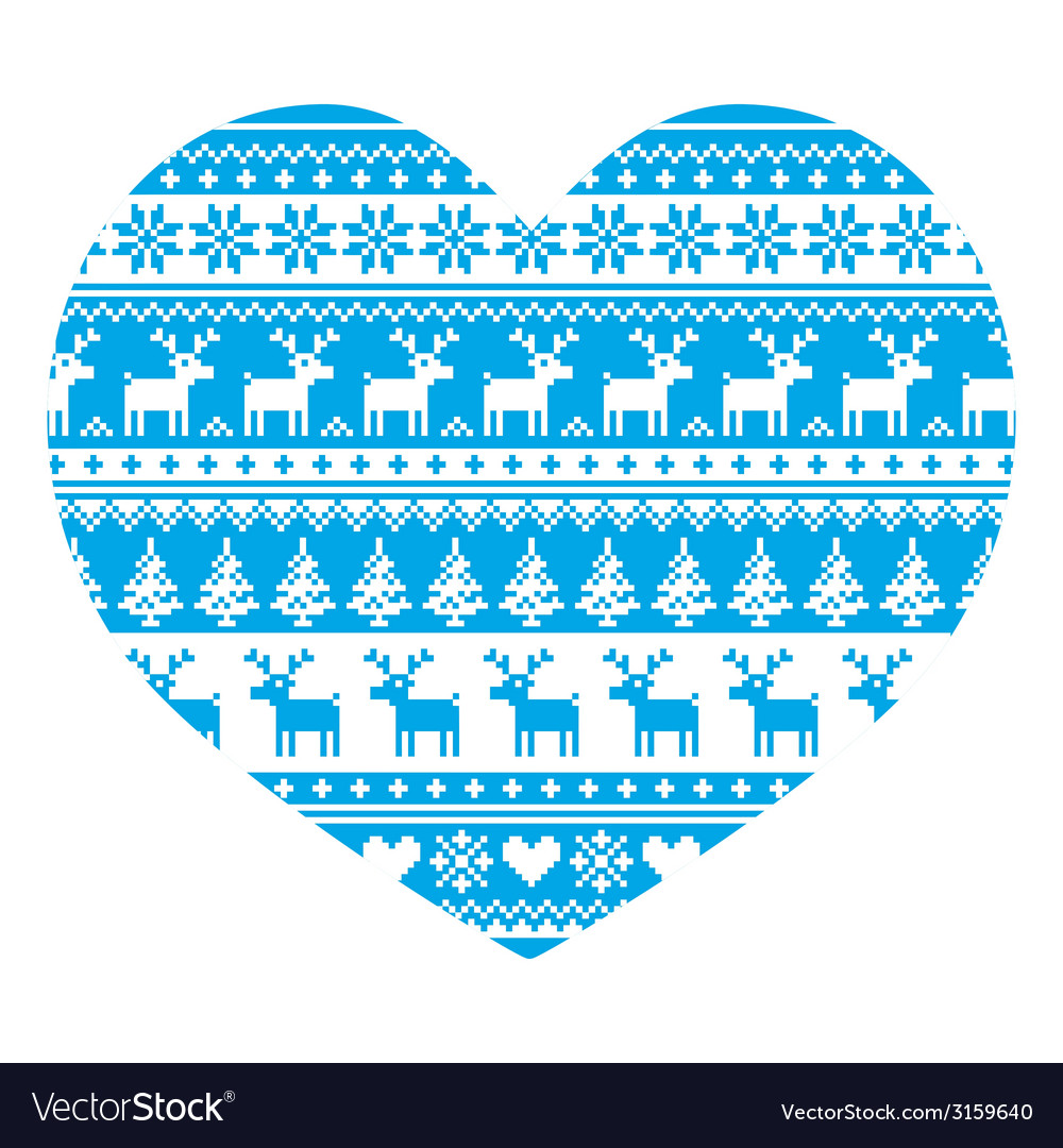 Christmas card with heart- blue nordic pattern vector | Price: 1 Credit (USD $1)