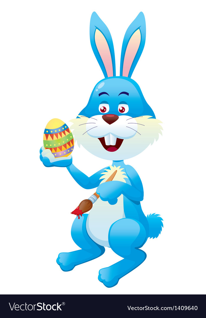 Easter bunny painting easter eggs vector | Price: 1 Credit (USD $1)
