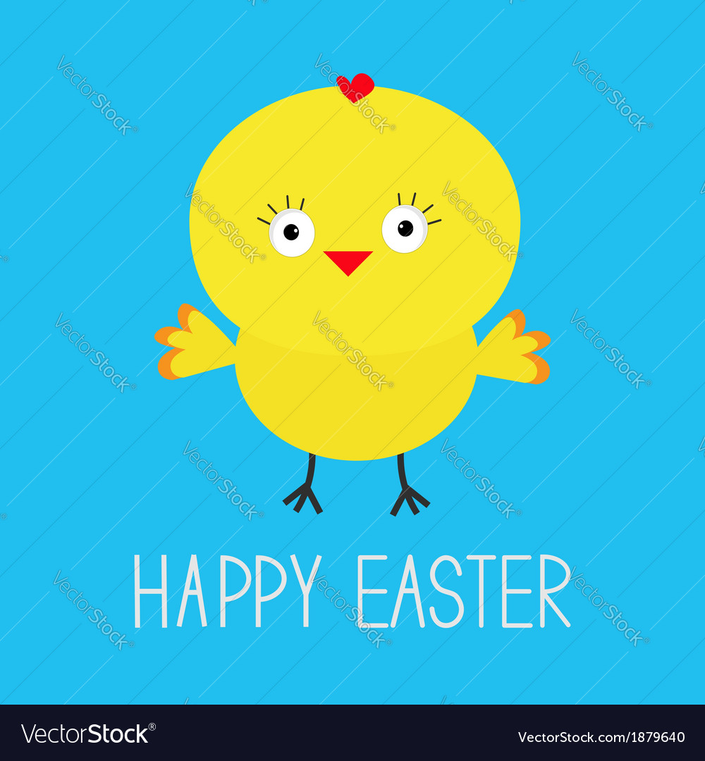 Easter chicken blue background card vector | Price: 1 Credit (USD $1)