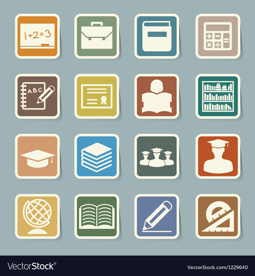 Education sticker icons set eps 10 vector | Price: 1 Credit (USD $1)