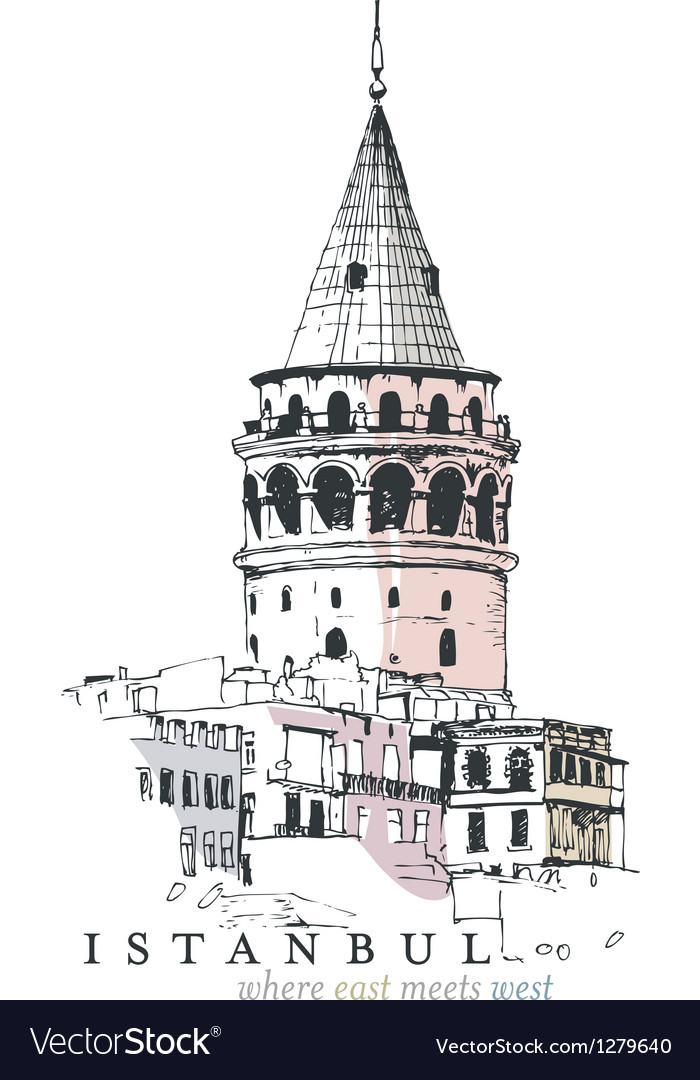 Galata tower drawing vector | Price: 1 Credit (USD $1)